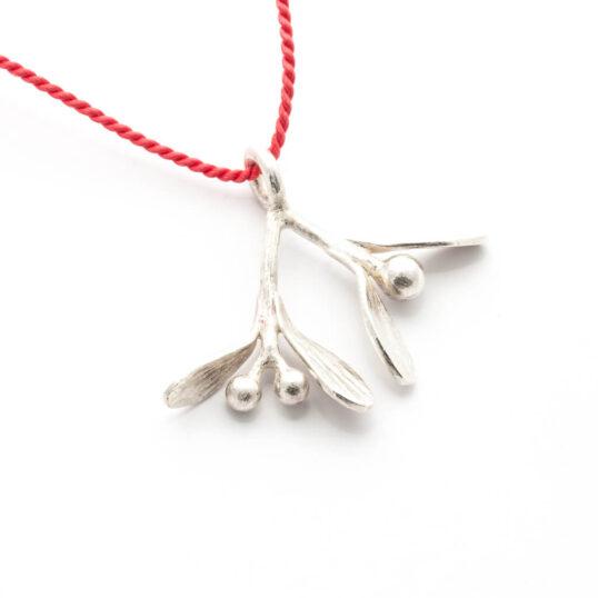 Mistletoe Pendant with Red Silk